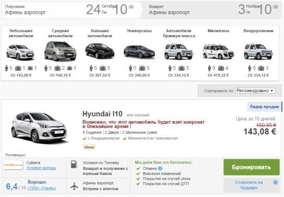 Цены на аренду авто в аэропорту Афин стартуют от 15 Евро в день