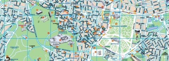Туристическая карта Афин