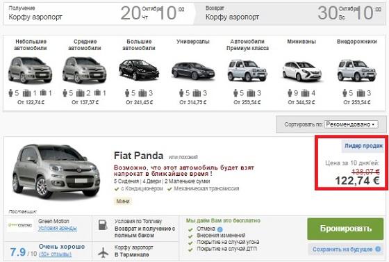 цены на аренду авто из аэропорта Керкиры