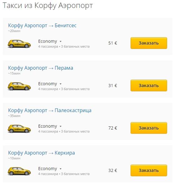 Цены на такси из аэропорта Корфу