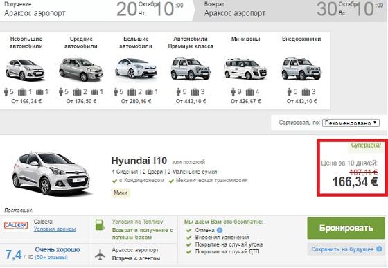 цены на аренду авто из аэропорта Араксос