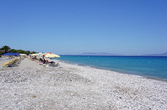 На пляжах Иксии преобладает некрупная галька