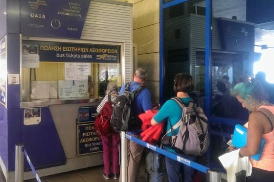 Касса автобусов в аэропорту Афин