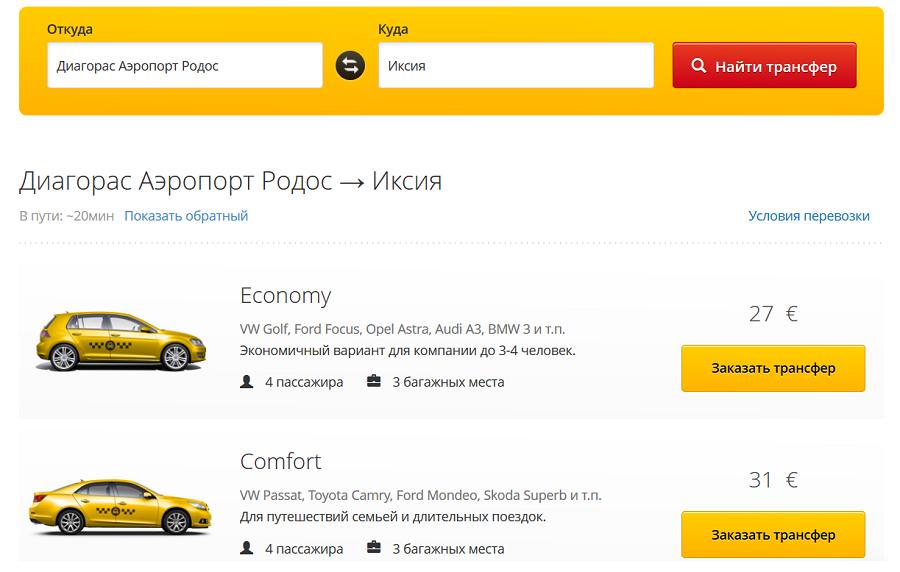 Заказ трансфера из аэропорта до Иксии обойдется порядка 30 евро